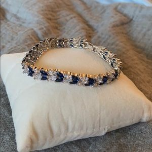Jewelry - Blue Sapphire & White Diamonique Tennis Bracelet